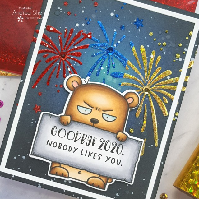 Snarky New Year cards by Andrea Shell | Big Grumpy Bear stamp by Taylored Expressions