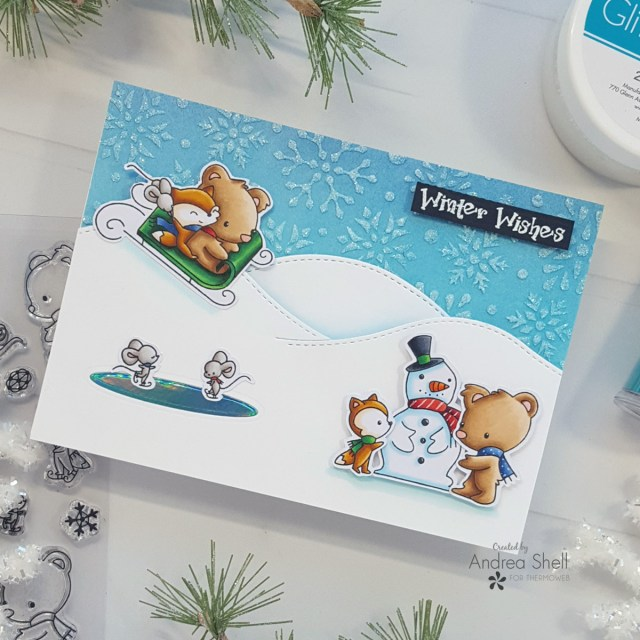 Winter Wishes card by Andrea Shell | Snow Much Fun stamp by LDRS Creative
