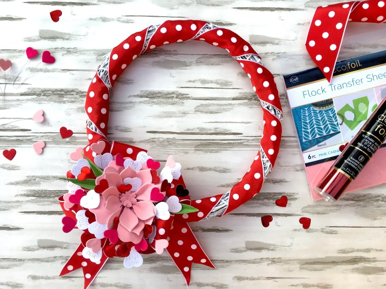 Valentine Heart Wreath with Flock