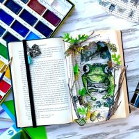 Deco Foil Flock Dimensional Frog Mixed Media Book