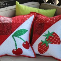 HeatnBond Cherry and Strawberry Fruit Applique and Patchwork Pillows