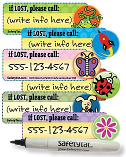 Safetytat - brightly colored stickers onto which you write your contact phone number.