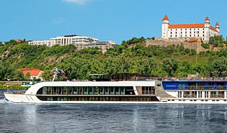 Our ship for the Christmas Cruise, the lovely new Amacerto, as it passes through Bratislava.