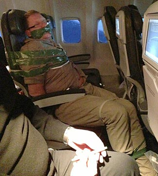 This is what happens when you misbehave on a flight.  In case you wondered!