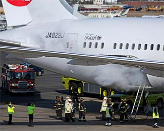 Notwithstanding airport fire fighters, the battery fire - and an explosion - continued unchecked for 100 minutes on the 787 at Boston.