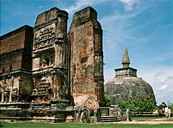 The royal palace ruins at the World Heritage site in Polonnaruwa.