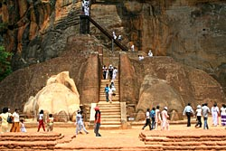 Not an Indian Jones scene!  Climb up the Sigiriya Rock Fortress.