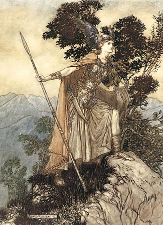 One of Arthur Rackham's distinctive illustrations of The Ring score, this one showing Brunnhilde.