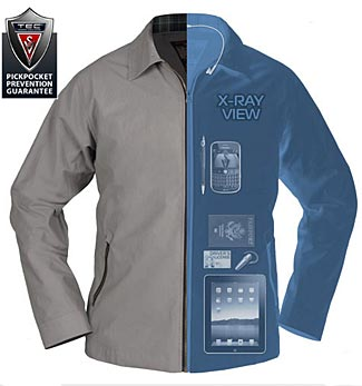One illustrated example of the capaciously pocketed ScotteVest jackets.