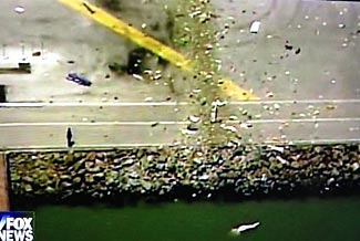 As can clearly be seen, the plane hit the sea wall at the start of the runway.