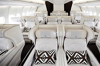 The attractive seating in Fiji Airways' new A330 business class cabin.