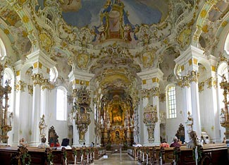 We visit the beautiful Wieskirche church when we travel from Munich to Nuremberg.