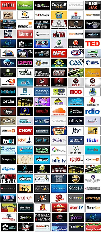 A small selection of the thousands of public and private channels available on your Roku player.