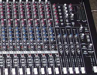 Part of a multi-channel mixing desk.  Look at all the controls to change the sound for each channel.