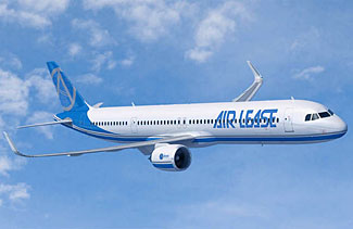 The new Airbus A321neoLR, in the livery of launch customer Air Lease.