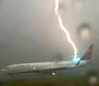 Amazing picture this week of a DL plane at ATL being struck by lightning on the ground.