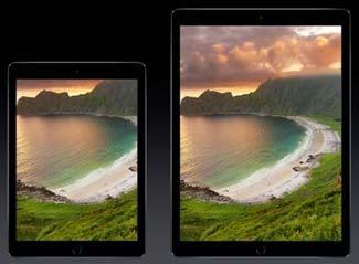 The new iPad Pro alongside an iPad Air 2.