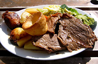 Actually a lovely meal, but also 'as good as it got' 40 years ago - a traditional 'Sunday roast' with beef, yorkshire pudding, and assorted roast and boiled veges.