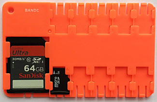 A credit card sized convenient way to carry and not lose up to 10 Micro SD cards and a regular SD card adapter.