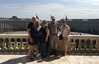 Five of us chose to take a special private guided tour of the world's second largest building, the People's Parliament in Bucharest.  Here we are on the official balcony from which leaders would greet crowds in the square below.