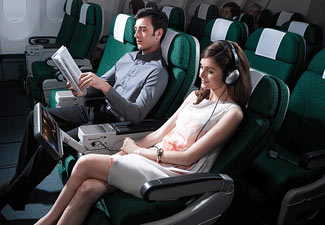 Looking for all the world like business class of a couple of decades back, this is current day Premium Economy class on Cathay.