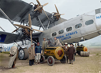 This restored picture dates to 1931 and shows a Handley Page H.P.42 being refueled in Israel.