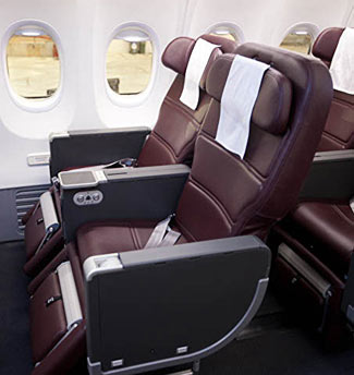 Traditional style business class seats.
