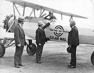 The original airlines were all about flying mail, not people. Oh - Varney Airlines? You'll know it better by its modern name. United Airlines.