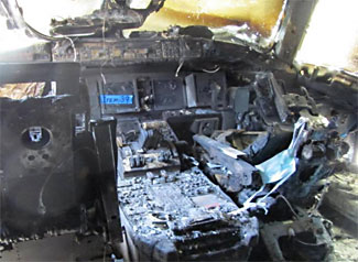 An example of a 777 cockpit fire, such as may have occurred to MH370.  This fire, pictured, happened to an EgyptAir 777 while on the ground in Cairo in 2011.