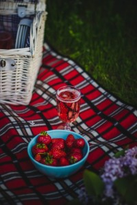 picnic in the park with strawberries