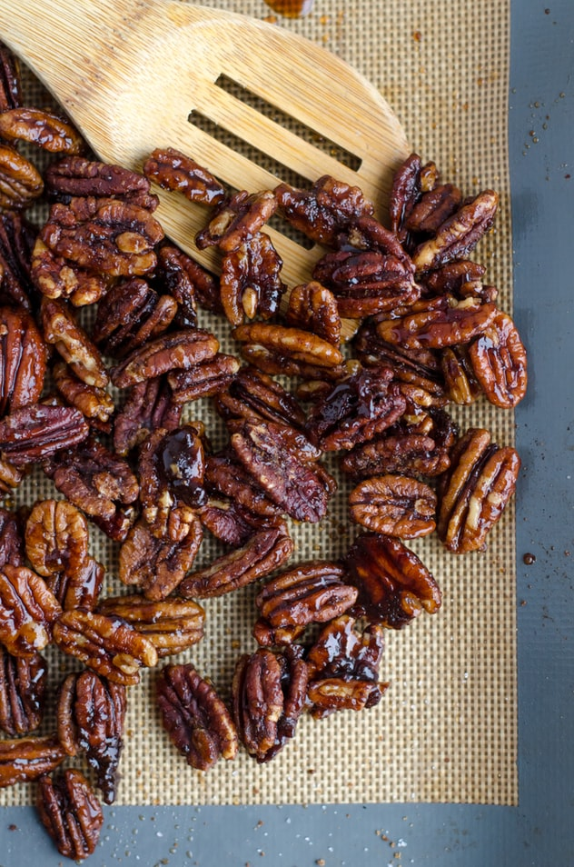 Roasted pecans for a Thanksgiving recipe.