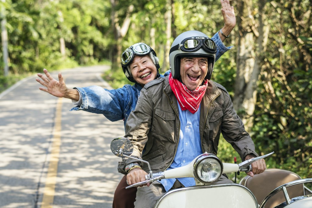 Seniors on a motorcycle