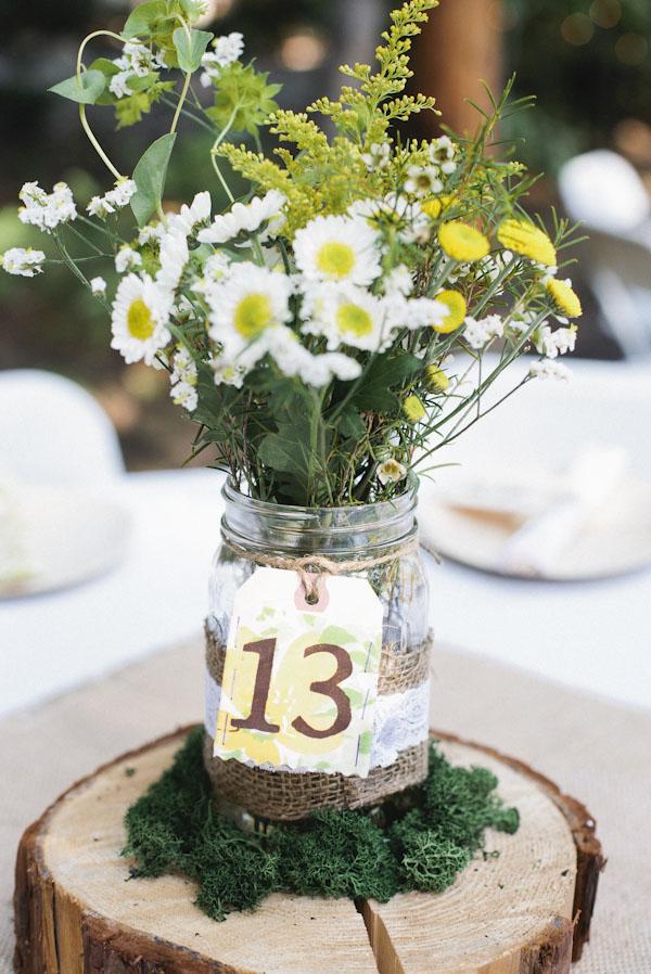 wedding jam jars table numbers  UK Wedding Styling