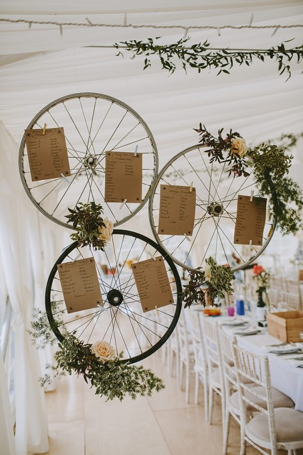marquee wedding decorations table plan bicycle wheels