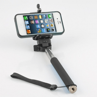 selfie stick black with iphone