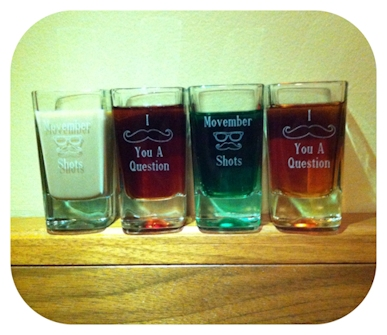 Mustache Engraved Shot Glasses
