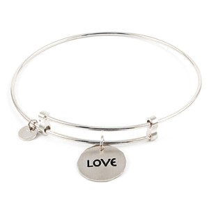 """Sweet"" Sterling Silver Bangle with Love Charm Things Engraved"