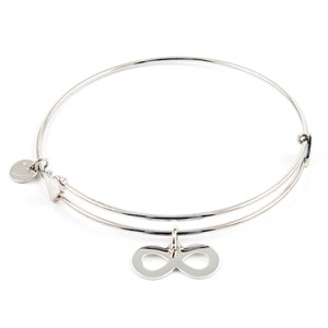 """Confident"" Sterling Bangle with Infinity Charm Things Engraved"