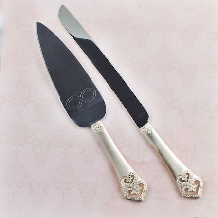 Cake Server Set Engraved with Infinity Symbol