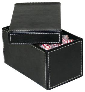 petite boite en cuir petite boite de rangement en cuir a surpiqures blanches elegante