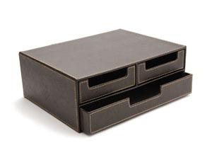 rangement a tiroirs en cuir rangement enveloppes et papiers en cuir petit rangement de