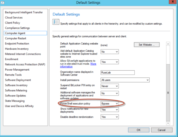 Client Settings - Powershell execution Policy
