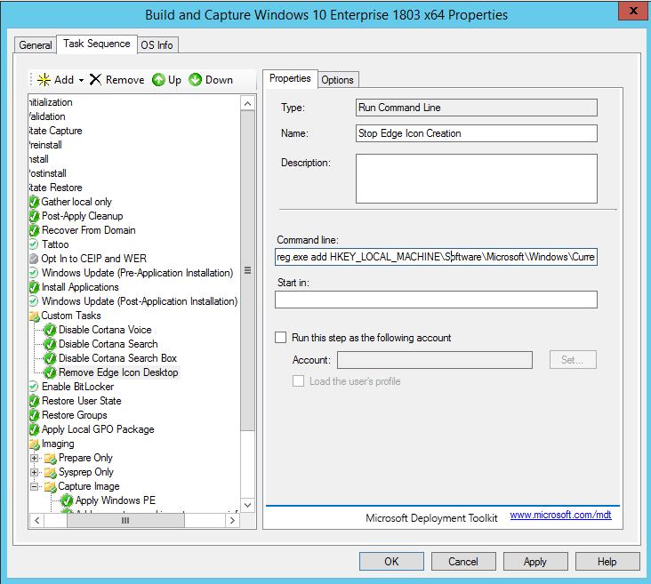 Windows 10 Registry tweak to disable Microsoft Edge Icon for MDT or