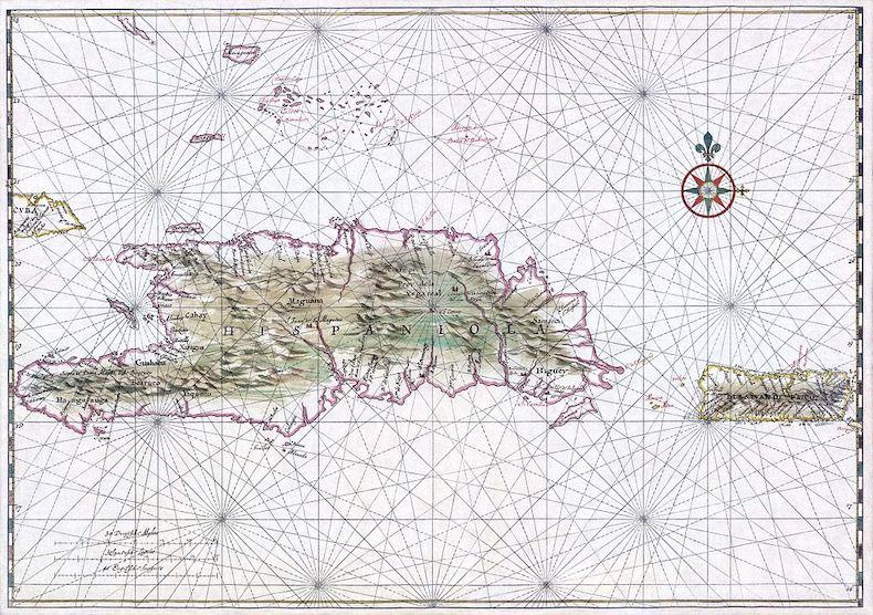 Map of Hispaniola, modern day Haiti and Dominican Republic, in 1639