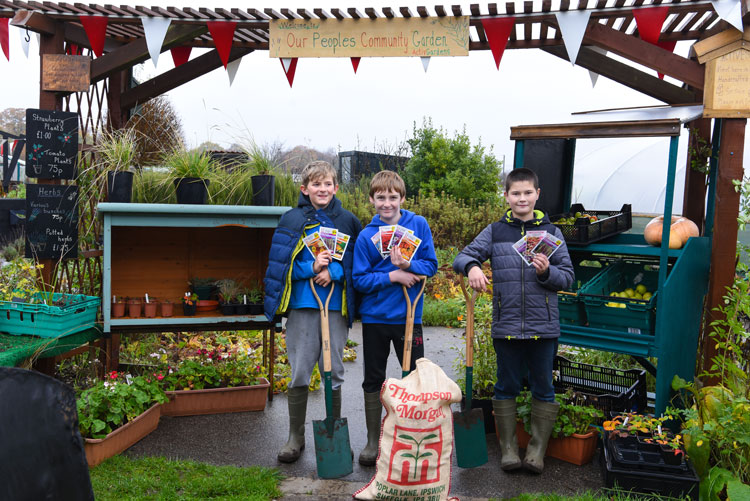 Pupils from Chantry Academy at the People's Community Garden, Halifax Road, Ipswich