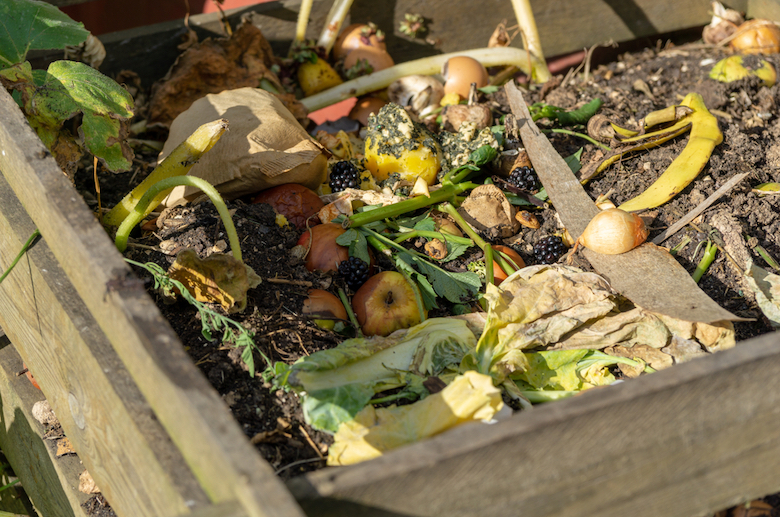 Compost in a wooden compost bin