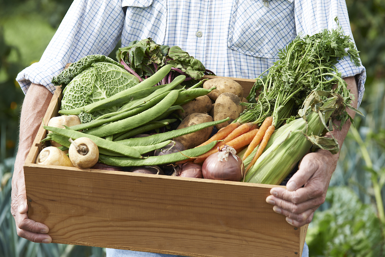 Wooden veg box being held full of fresh vegetables