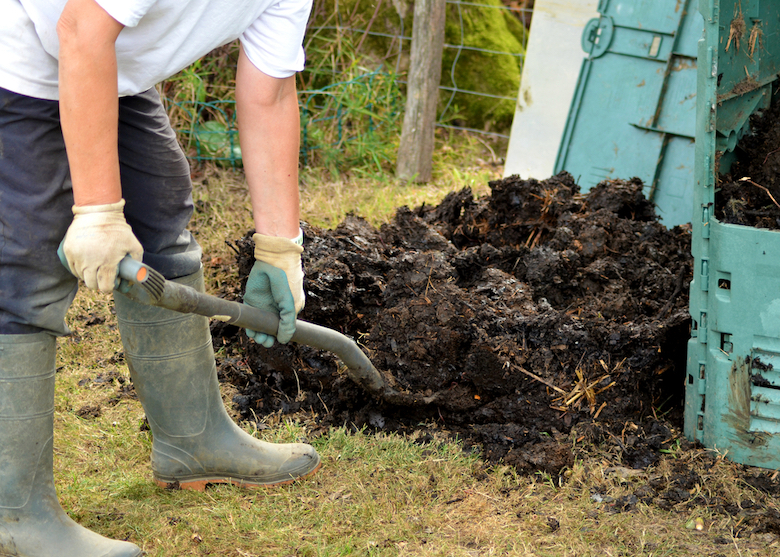 Gardener digging compost with a spade