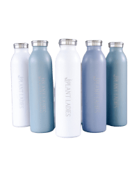 Stainless steel water bottles from Those Plant Ladies. Available in white, sage, or slate blue.