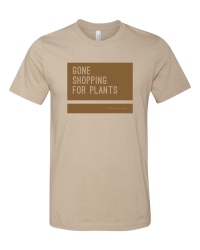 Gone shopping for plants tee from Those Plant Ladies. Tan tshirt, cognac block, neutral letters.